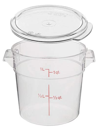 a one quart round plastic container with lid