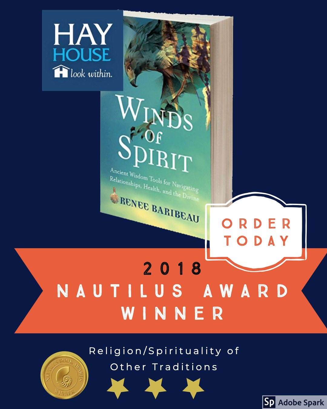 Winds of Spirit joins the ranks of books by Byron Katie, Brene Brown, Anne Lamott and Thich Nhat Hanh as a Nautilus Award Winner. This trailblazing Hay House book has won the Gold Award in the category of Religion /Spirituality of Other Traditions. Support Better Books for a Better World, order your copy today. https://www.amazon.com/dp/1401952755