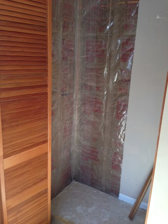 Husband's closet after mold removal, it needs dry wall, paint, carpet, and baseboards!