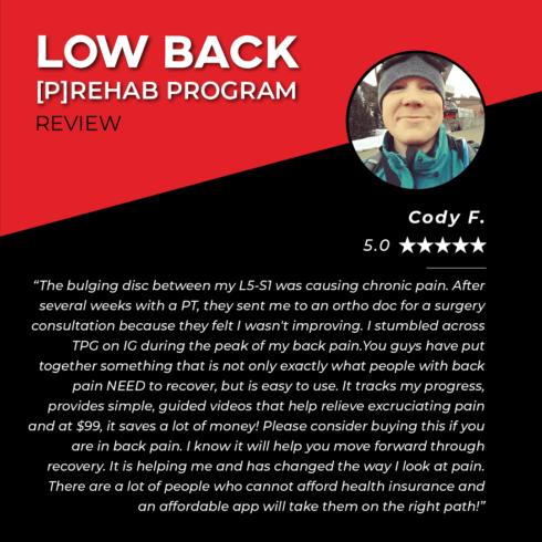 Low Back Prehab Testimonies - Cody F