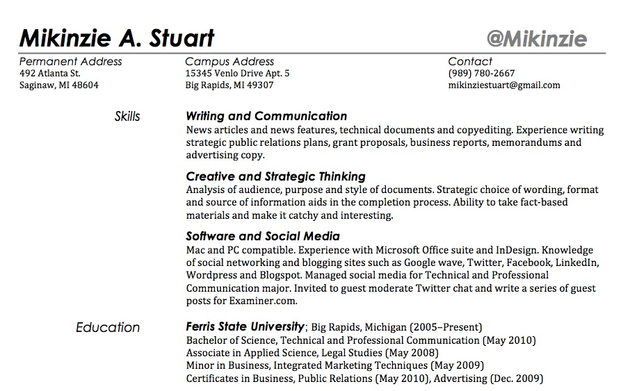 does your twitter handle belong in your resume template skills section