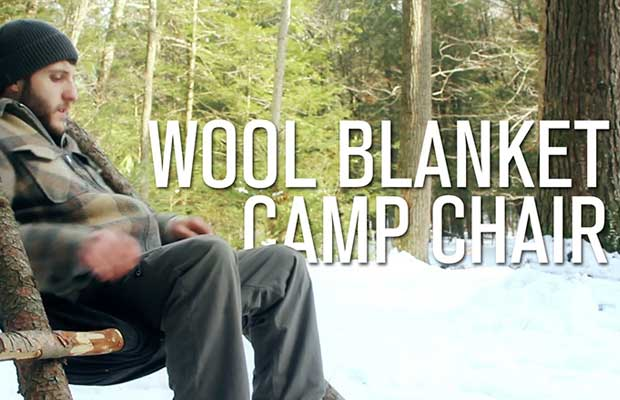 Today's featured video is another interesting one from BlackOwlOutdoors and it demonstrates how to make a wool blanket camp chair. This is a pretty cool idea for using the materials you should have around you in the woods (logs, cordage, blanket) to make a nice little chair. This chair will keep you off the ground and offers a little comfort in the outdoors.