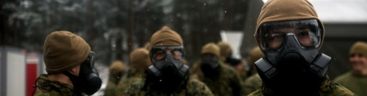Wearing the M50 CBRN military-grade gas mask