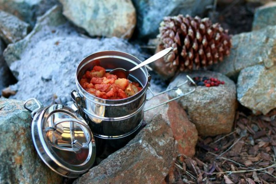 Food inside a stainless steel container