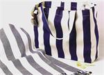 PreppyPrincess.com Blue Awning Stripe Tote Bag