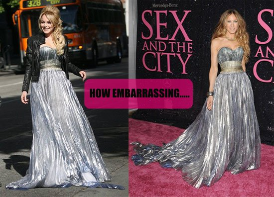 Lindsay Lohan in Nina Ricci SATC Sex and the City Sarah Jessica Parker Gown