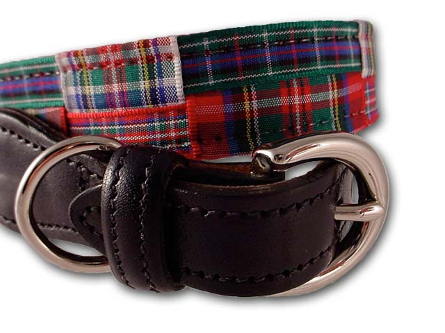Stewart Plaid ribbon Dog Collar at PreppyPrincess.com