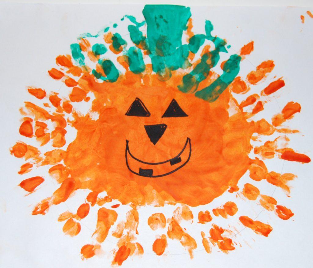 Thumbprint Pumpkin Patch Hand Print Pumpkins And Witches