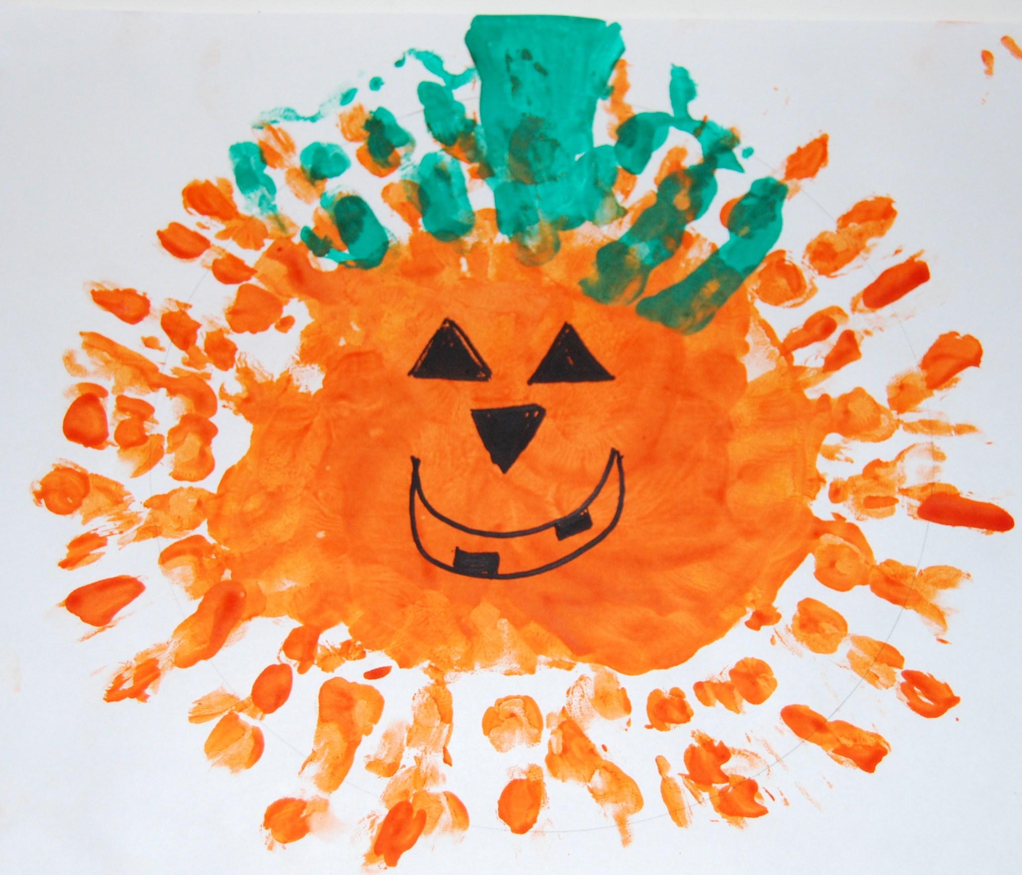 Handprint Jack O Lantern The Preschool Toolbox Blog