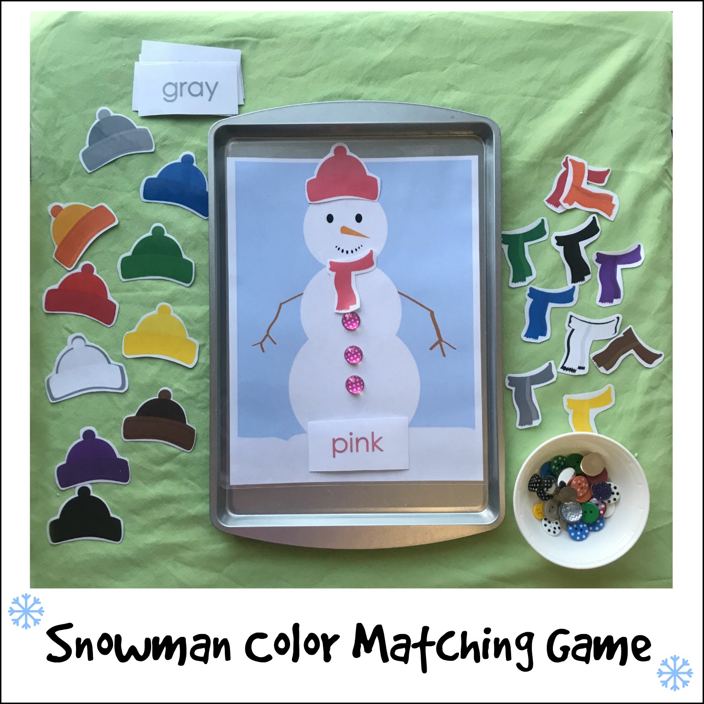 Free Snowman Color Matching Activities For Preschoolers The Preschool Toolbox Blog