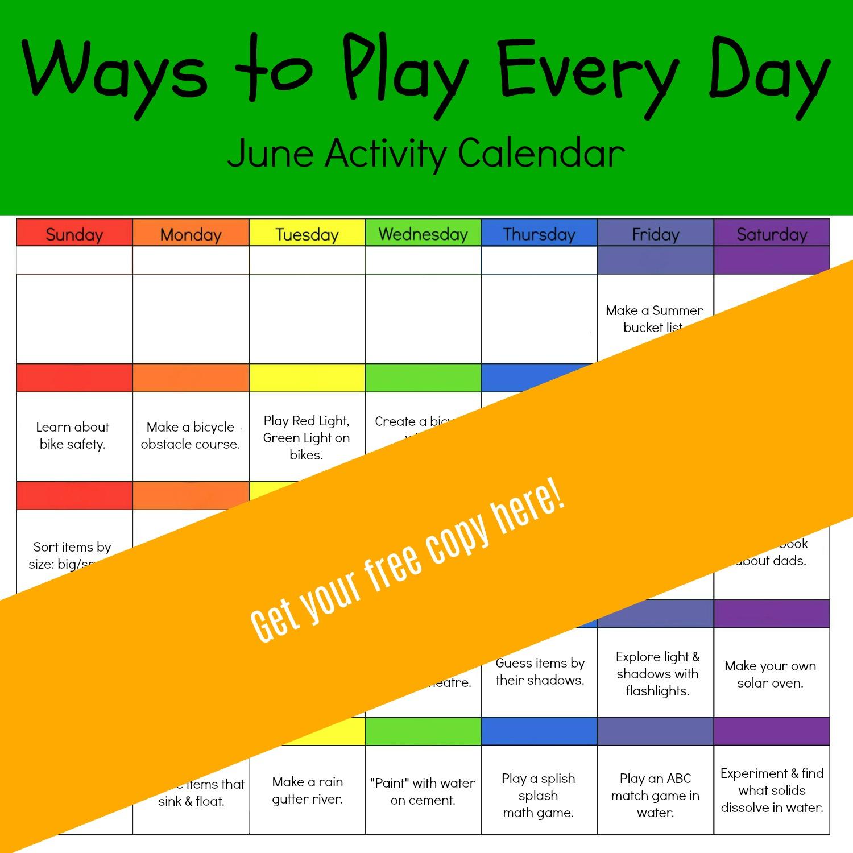 Ways To Play Every Day June Activity Calendar For Preschoolers The Preschool Toolbox Blog