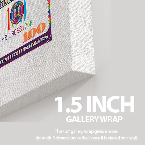 $100 white bill canvas wall art the presidential hustle closeup