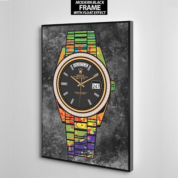 Rollie hustle 247 in colour wall art the presidential hustle frame