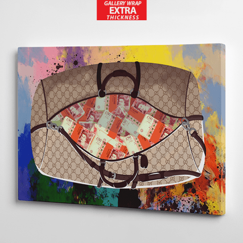 get the bag gucci and pounds sterling canvas wall art the presidential hustle