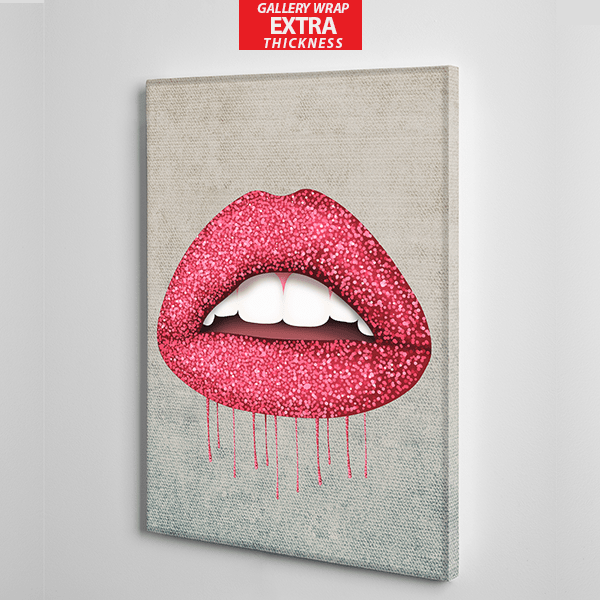 red lips with glitter canvas wall art the presidential hustle