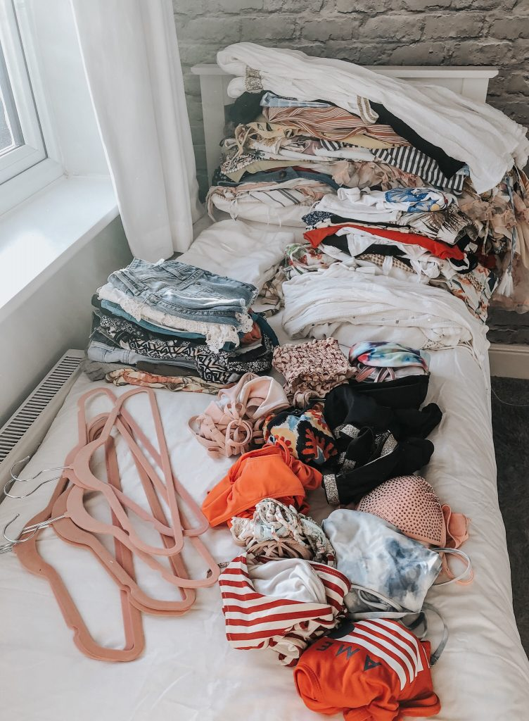 Summer clothes ready to store away