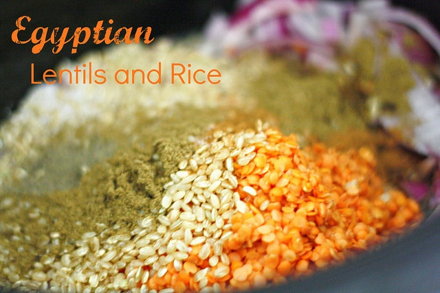 A great way to eat more lentils - spiced Egyptian lentils and rice in the slow cooker.
