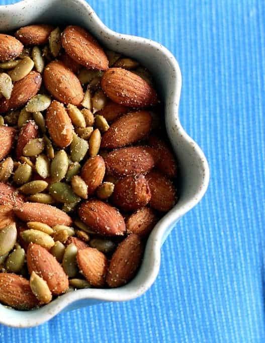 savory roasted almonds and pepitas