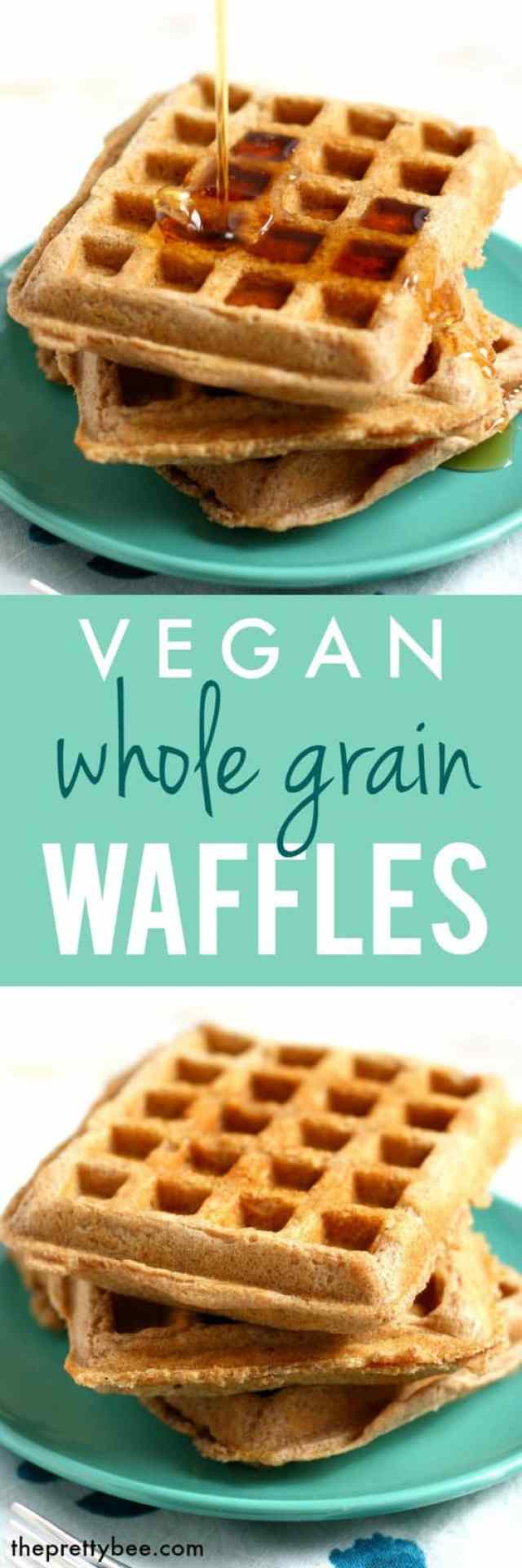 These whole grain spelt vegan waffles are delicious and light and fluffy!