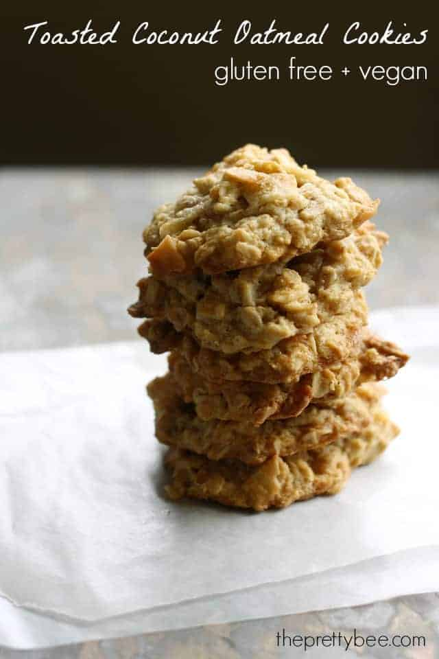 vegan and gluten free toasted coconut chewy oatmeal cookies