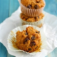 Easy and Delicious pumpkin chocolate chip muffin recipe.