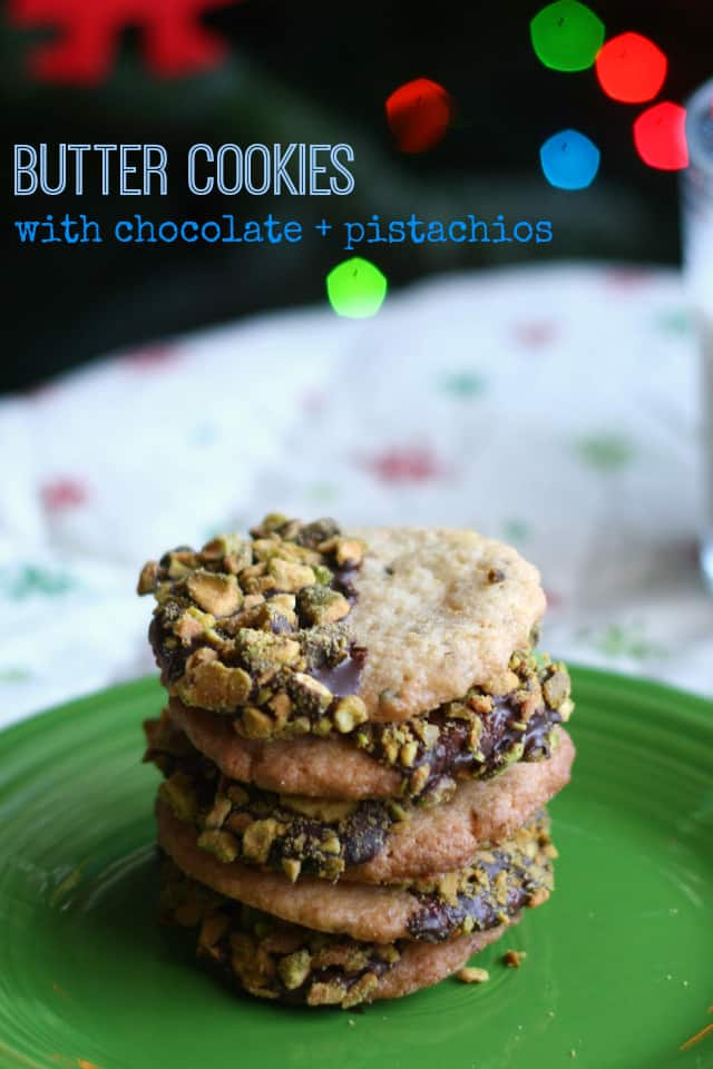 These butter cookies are melt in your mouth delicious! Chocolate and pistachios make them extra special. #glutenfree #vegan