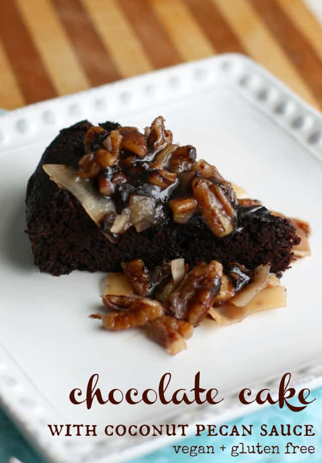 Chocolate cake with a rich pecan and coconut sauce. Treat yourself to a slice of this dreamy cake! #glutenfree #vegan