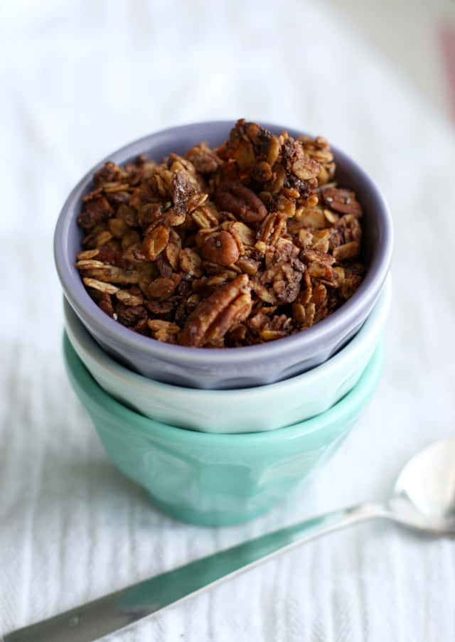 Gluten free chocolate pecan granola recipe.
