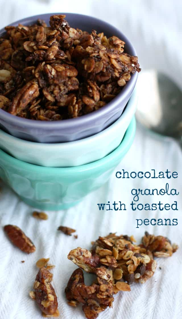 How about a sweet and chocolatey granola for breakfast? Chocolate pecan granola is sure to become a family favorite!