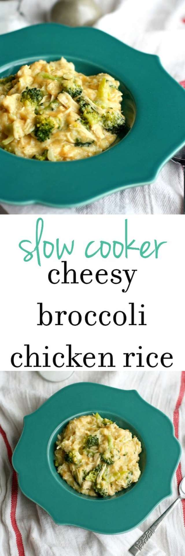 EASY and COMFORTING slow cooker cheesy broccoli chicken rice.