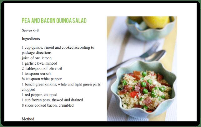 Pea and bacon quinoa salad