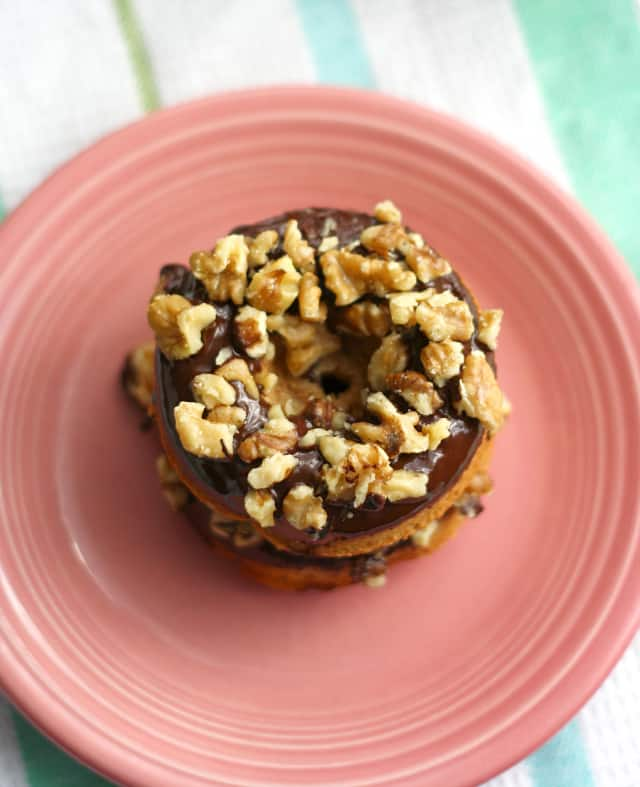 Delicious rich banana walnut donuts. Vegan.