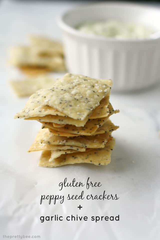 Creamy garlic chive spread and gluten free poppy seed crackers. A great summer appetizer!