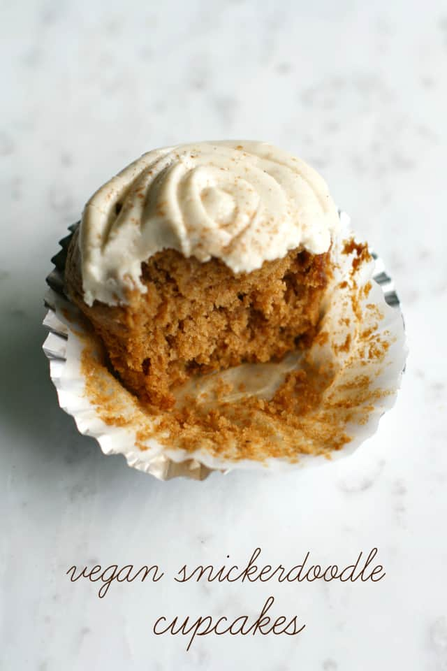 Delicious vegan snickerdoodle cupcakes with a sweet frosting.