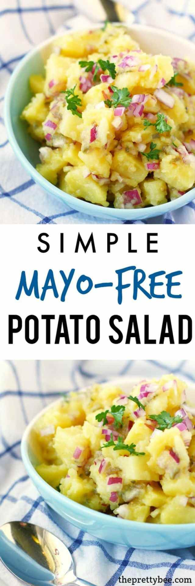 Everyone LOVES this easy mayo-free potato salad! It's tangy and delicious!
