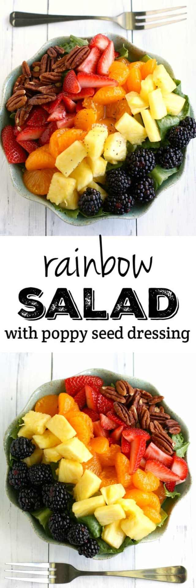 A fresh and delicious salad with a rainbow of fruits, pecans, and a poppy seed dressing. Inspired by Panera's salad, this version is easy to make at home!