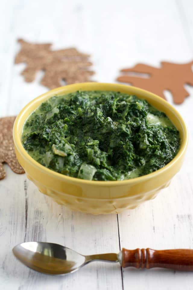 Super simple recipe for dairy free and gluten free creamed spinach. A perfect side for Thanksgiving! #vegan