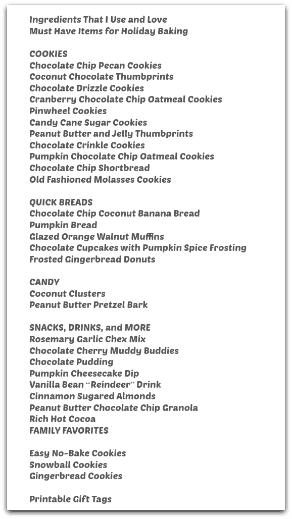 Table of contents for Vegan Holiday Treats ebook.