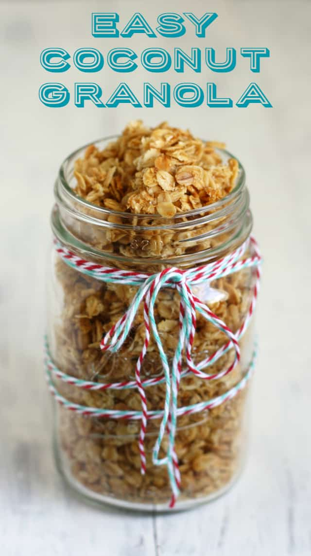 This is an easy granola to make for holiday gifts! Coconut and buttery spread  make a rich and tasty breakfast treat!