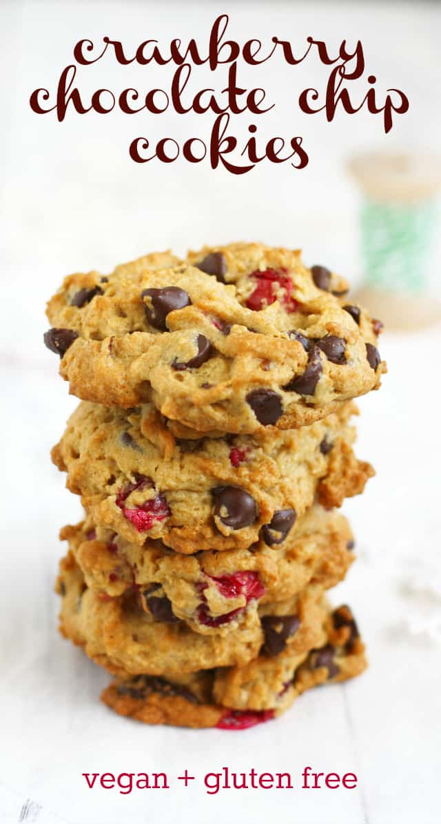 These delicious chocolate chip cranberry cookies are a festive holiday treat! The bright pink berries peeking out look very pretty on a cookie tray! #vegan #glutenfree #cookies