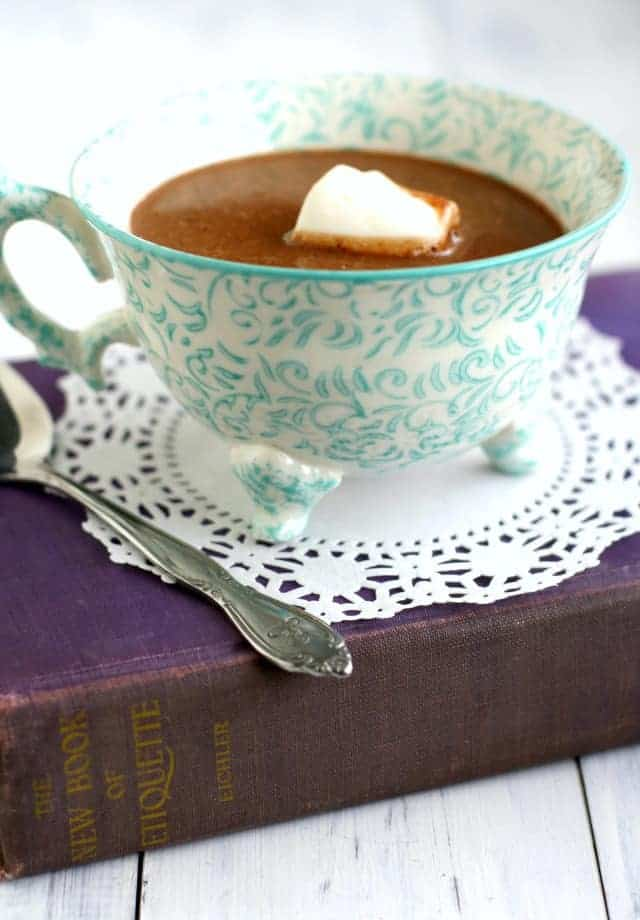 Delicious dairy free decadent coconut cream hot chocolate recipe. #dairyfree