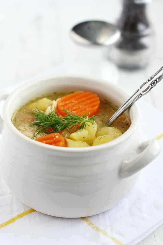 The BEST cozy and comforting chicken and potato soup. This is what you need when you are under the weather!