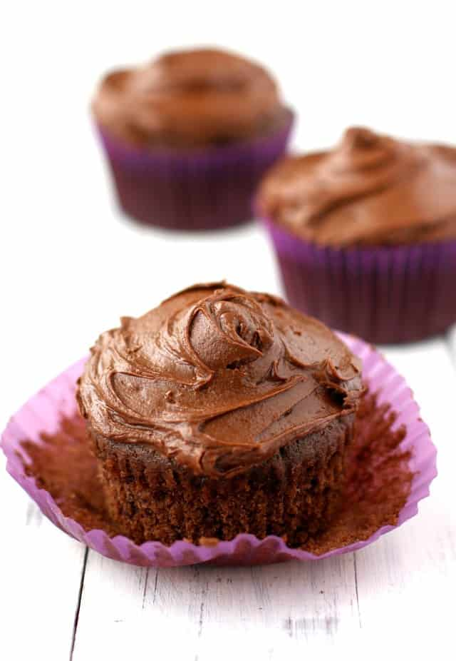 These double chocolate cupcakes are moist and delicious and topped with a rich, creamy, chocolate frosting. Heavenly.