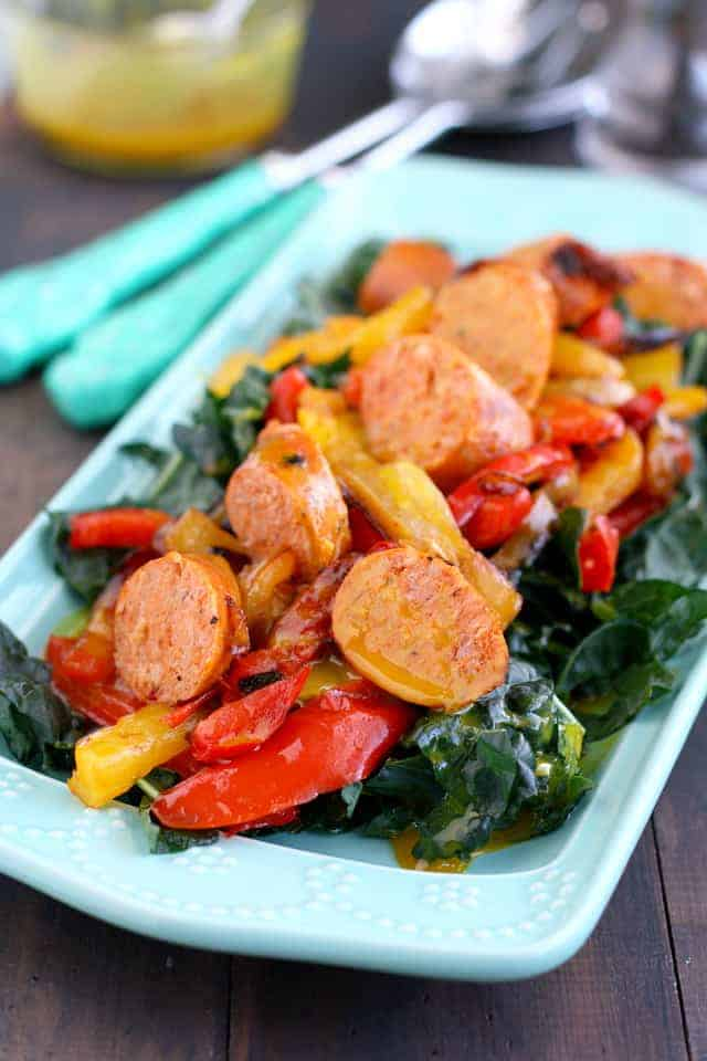 honey mustard kale salad with sausage