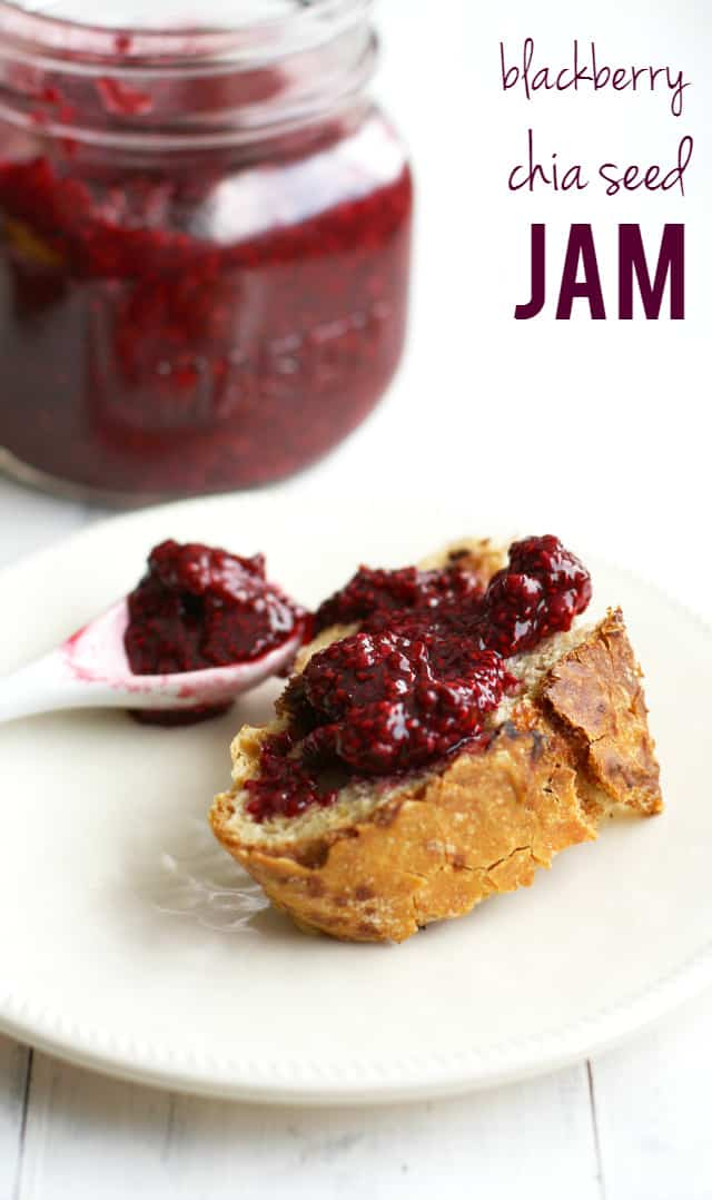 Make this easy fruit jam today! A taste of summer - refrigerated blackberry chia seed jam. So delicious!