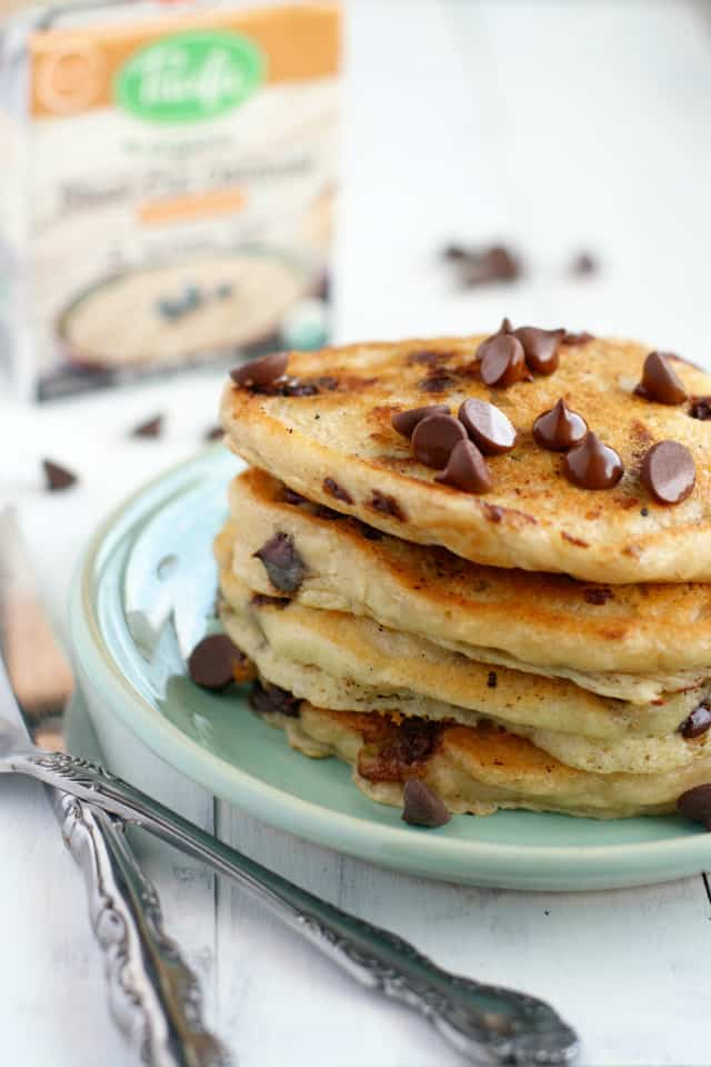 A delicious and decadent start to the day - vegan chocolate chip oatmeal pancakes. #sponsored