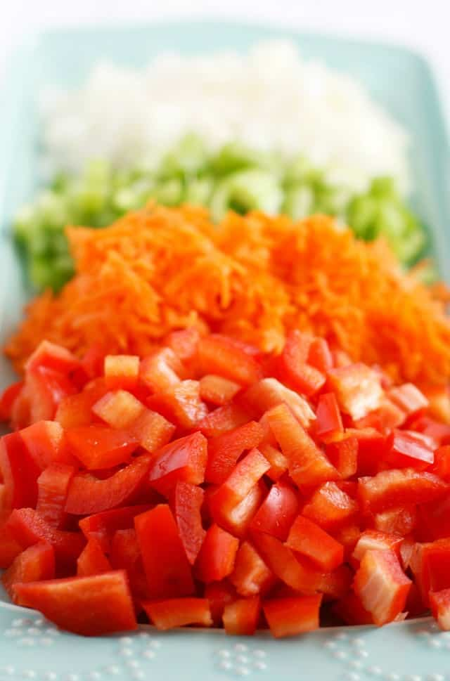 Lots of colorful veggies are a main ingredient of this summer macaroni salad!