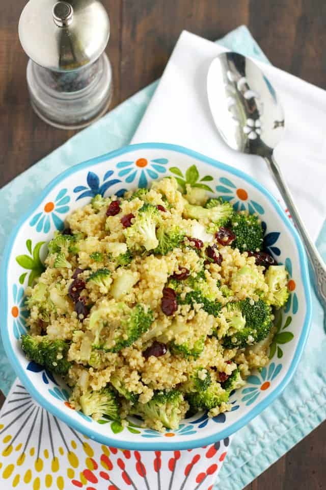 Simple and tasty curried quinoa salad with broccoli, onions, and cranberries. Colorful and delicious, a great summer salad. #salad #glutenfree