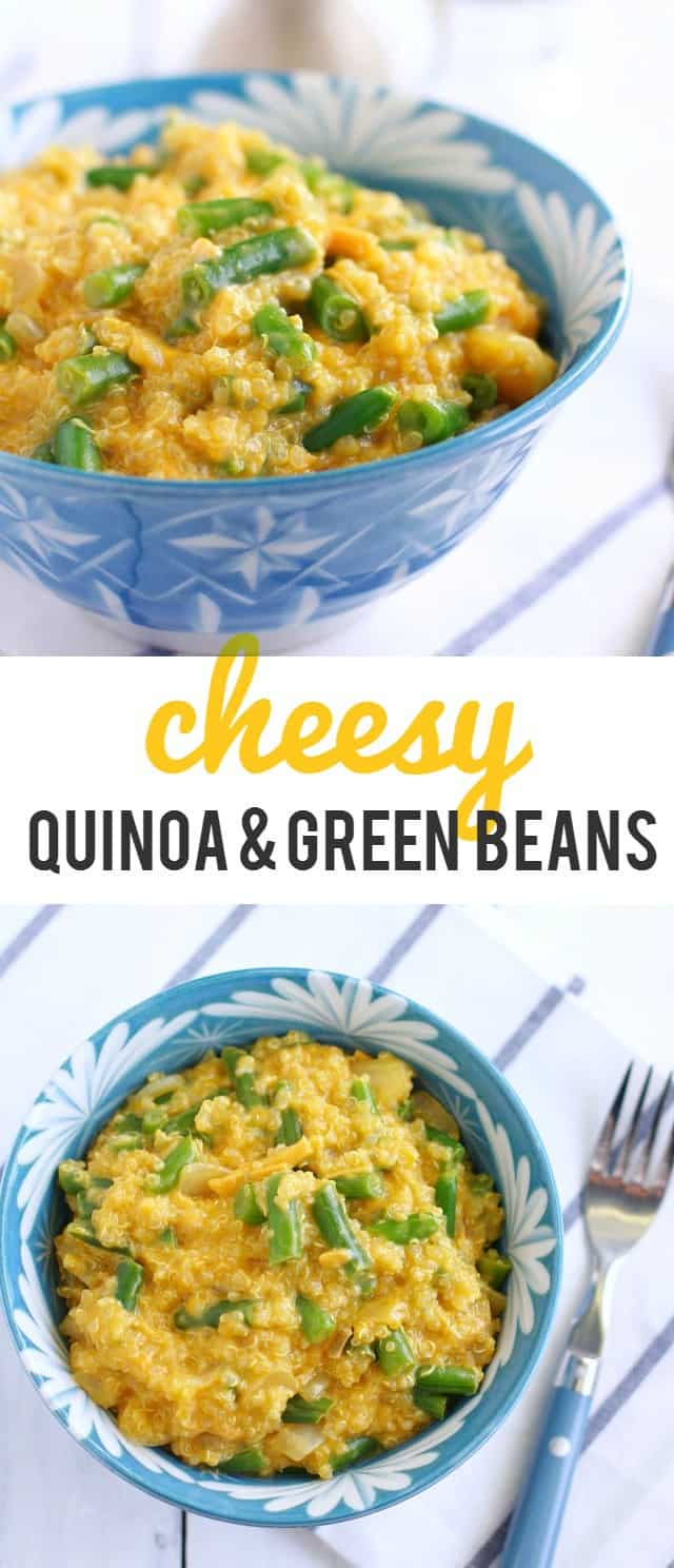 This is the most DELICIOUS quinoa recipe! Cheesy quinoa and green beans make the perfect side dish! #quinoa
