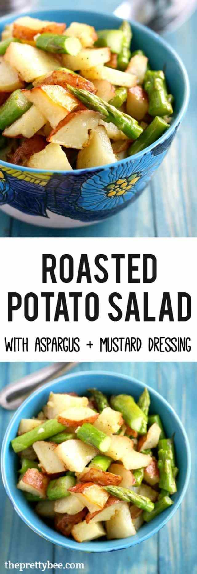 Delicious roasted potato salad is made extra special with asparagus and a tasty mustard dressing.